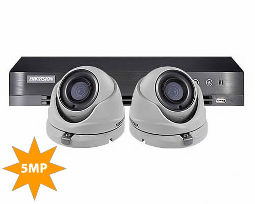 Hikvision 5MP 2 Camera Home CCTV System DS-7204HUHI-K1 & 2x DS-2CE56H0T-ITMF